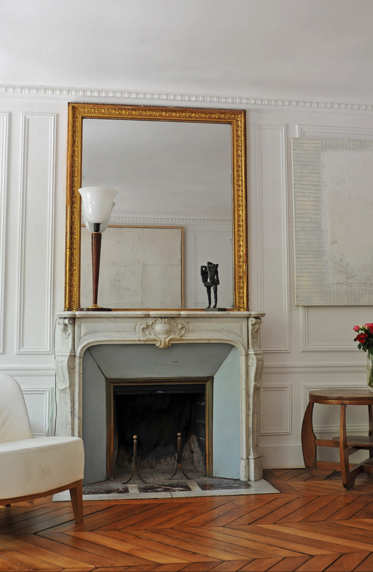 Paris apartment fireplace