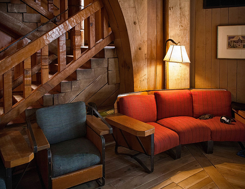 Rustic interior at Timberline Lodge