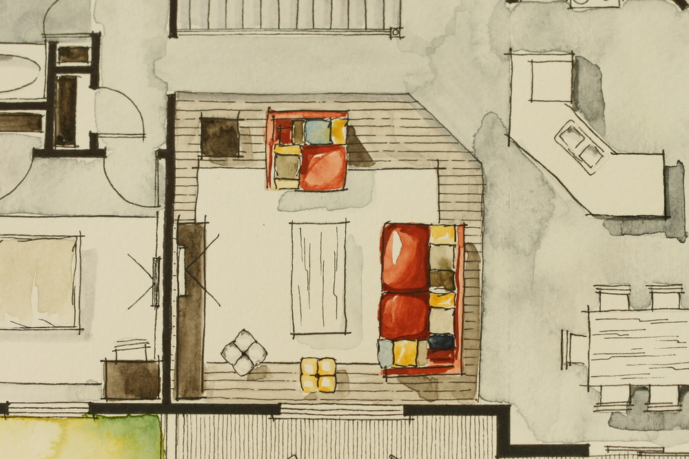 Freehand watercolor sketch of partial floor plan showing living room with red sofa